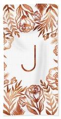 Letter J - Rose Gold Glitter Flowers Beach Towel