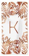 Letter K - Rose Gold Glitter Flowers Beach Sheet
