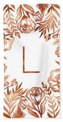 Letter L - Rose Gold Glitter Flowers Beach Sheet
