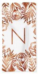 Letter N - Rose Gold Glitter Flowers Beach Towel