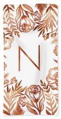 Letter N - Rose Gold Glitter Flowers Beach Sheet