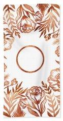 Letter O - Rose Gold Glitter Flowers Beach Towel