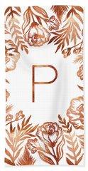 Letter P - Rose Gold Glitter Flowers Beach Sheet
