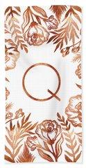 Letter Q - Rose Gold Glitter Flowers Beach Towel