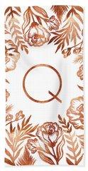 Letter Q - Rose Gold Glitter Flowers Beach Sheet