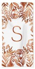 Letter S - Rose Gold Glitter Flowers Beach Sheet