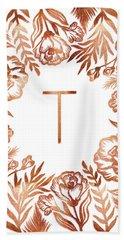 Letter T - Rose Gold Glitter Flowers Beach Towel