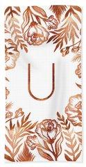 Letter U - Rose Gold Glitter Flowers Beach Sheet