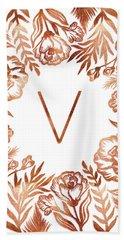 Letter V - Rose Gold Glitter Flowers Beach Towel