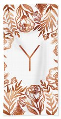 Letter Y - Rose Gold Glitter Flowers Beach Towel