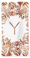 Letter Y - Rose Gold Glitter Flowers Beach Sheet