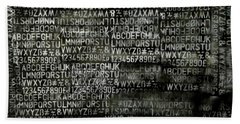 Letters And Numbers Grey On Black Beach Towel