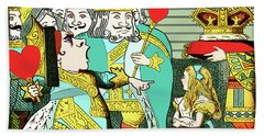 Beach Towel featuring the painting Lewis Carrolls Alice, Red Queen And Cards by Marian Cates