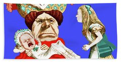 Beach Towel featuring the painting Lewis Carrolls Alice, Red Queen And Crying Infant by Marian Cates