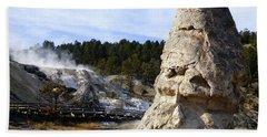 Liberty Cap At Mammoth Hot Springs Beach Sheet