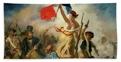 Beach Sheet featuring the painting Liberty Leading The People By Eugene Delacroix 1830 by Movie Poster Prints