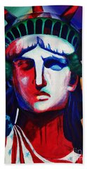 Liberty Of Statue New York 98jhm Beach Towel by Gull G