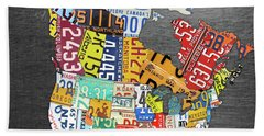 License Plate Map Of North America Canada And The United States On Gray Metal Beach Towel