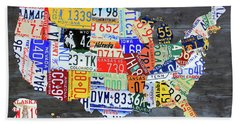 License Plate Map Of The United States Gray Edition 16 With Special Kodiak Bear Alaska Plate Beach Towel
