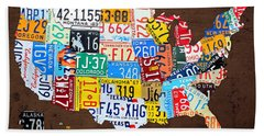 License Plate Map Of The Usa On Brown Wood Beach Towel