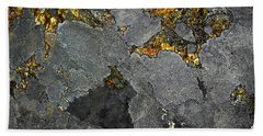 Beach Towel featuring the photograph Lichen On Granite Rock Abstract by Donna Lee