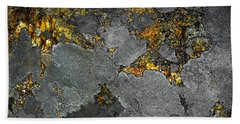 Lichen On Granite Rock Abstract Beach Towel