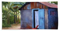 Beach Towel featuring the painting Life In Haiti by Janet King