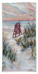 Beach Towel featuring the painting Lifeguard Chair And Dunes by Linda Olsen