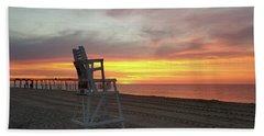 Lifeguard Stand On The Beach At Sunrise Beach Towel