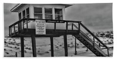 Lifeguard Station 1 In Black And White Beach Sheet by Paul Ward