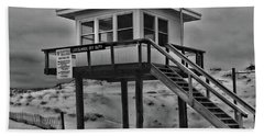Lifeguard Station 2 In Black And White Beach Sheet by Paul Ward