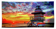 Lifeguard Tower At Miami South Beach, Florida Beach Towel by Charles Shoup