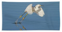 Lift Off- Snowy Egret Beach Towel
