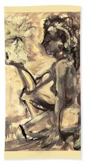 Beach Towel featuring the painting Light And Shadow by Mary Schiros