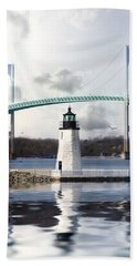 Beach Towel featuring the photograph Light At Goat Island by Robin-Lee Vieira