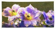 Light Blue Belladonna Delphiniums Beach Towel by Sandi OReilly