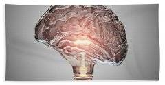 Light Bulb Brain Beach Towel
