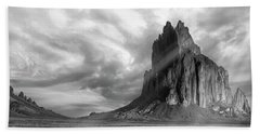 Beach Towel featuring the photograph Light On Shiprock by Jon Glaser