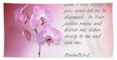 Light Pink Orchid Psalms 71 Beach Towel