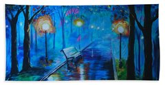 Beach Towel featuring the painting Lighted Parkway by Leslie Allen