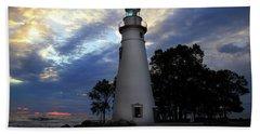 Lighthouse At Sunrise Beach Towel
