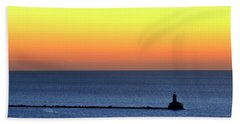 Beach Sheet featuring the photograph Lighthouse At Sunrise On Lake Michigan by Zawhaus Photography