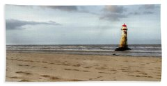 Lighthouse At Talacre Beach Towel
