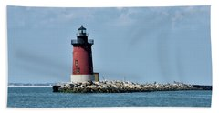 Delaware Breakwater East End Lighthouse - Lewes Delaware Beach Towel by Brendan Reals