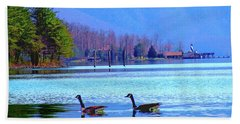 Lighthouse Geese, Smith Mountain Lake Beach Towel