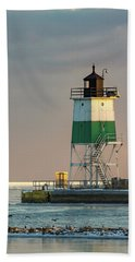 Lighthouse In The Sunset Beach Towel