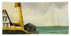 Lighthouse In Oil Beach Towel
