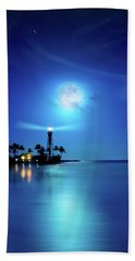 Lighthouse Moon Beach Towel by Mark Andrew Thomas