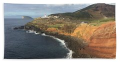 Beach Towel featuring the photograph Lighthouse On The Coast Of Terceira by Kelly Hazel