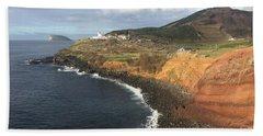 Lighthouse On The Coast Of Terceira Beach Sheet by Kelly Hazel